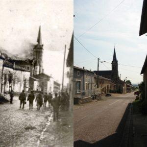 Frankreich: brennende Kirche im Ersten Welkrieg und Kirche heute